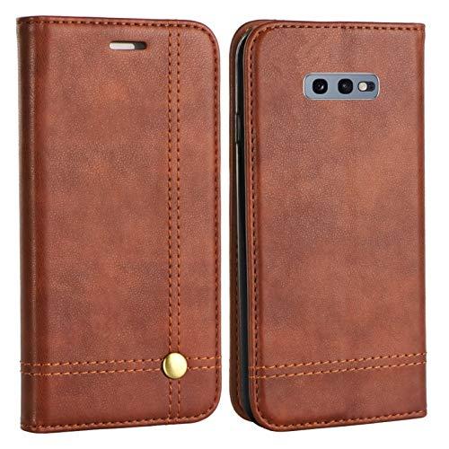 MOELECTRONIX Edle Buch Klapp Tasche BRAUN Flip Book Hülle Schutz Hülle Etui passend für Samsung Galaxy S10e DuoS SM-G970F/DS