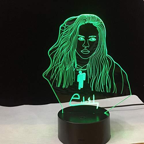 Schreibtischlampe Kinder,3D Illusion Led Nachtlicht Lampe Billie Eilish Abbildung Büro Raumdekor Tischlampe Fans Geschenk Nachtlicht