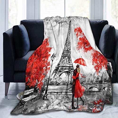 269 Art Paris Street - Manta de franela con diseño de Torre Eiffel para cama (127 x 152 cm)