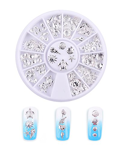 12 Designs Silver Ocean Life Sea Shell Starfish Conch Mixed 3D Nail Art Decorations Stud Charming Jewelry on Nails Supplies In Wheel