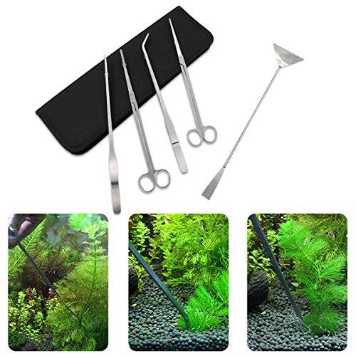 Xcellent Global Aquarium Set Edelstahl Aquarium Tank Wasserpflanze Werkzeuge Aquascaping Sets Pinzetten Scheren Spatel - 5 Werkzeuge PC035