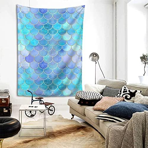 ZORIN Tapices para colgar en la pared, 152 x 202 cm, escamas de cola de sirena, escamas de pescado, tapiz acuático para dormitorio, decoración de pared