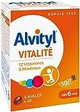 Alvityl Vitalité à avaler, goût chocolat - 12 Vitamines et 8 Minéraux - Dès 6 ans - 40 comprimés