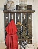 Dekorie Holz Garderobe im Landhaus Stil Vintage Shabby | fertig montiert (Braun)