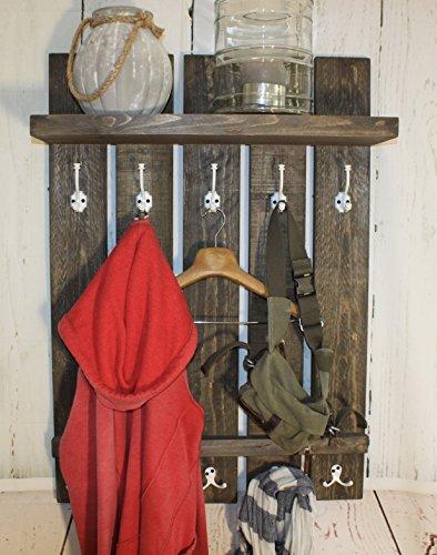 dekorie Holz Garderobe im Landhaus Stil braun Vintage Shabby fertig montiert