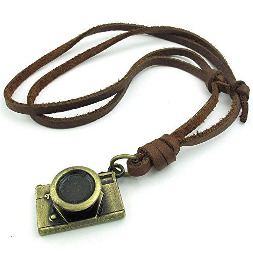 Konov Jewellery Unisex Men's Women's Retro Camera Design Adjustable Size Alloy Necklace Pendant with Leather Necklace, Brown