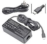 VUOHOEG 65W 45W USB Tipo C Cargador Adaptador para Lenovo Chromebook 100e 300e C330 ThinkPad T480 T480s T580 T580s Yoga C930 C940 C740 S730 730 730S 910 920 ThinkPad X1 L480 L580 P51s P52s Cargador