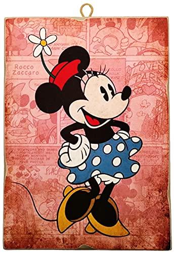 KUSTOM ART Cuadro de estilo vintage serie cómics Mickey Mouse - Minnie Mouse de colección impresión sobre madera