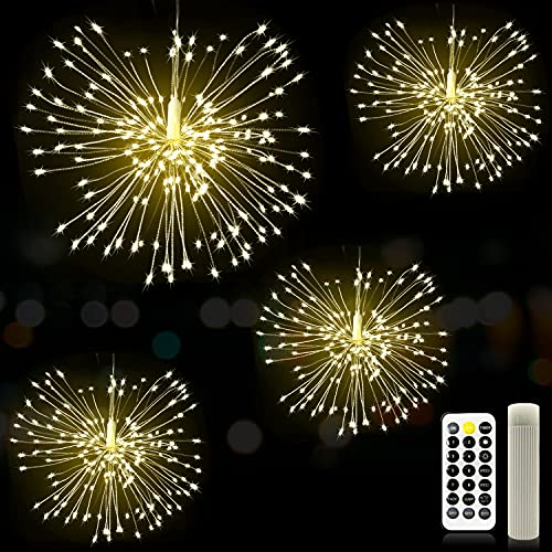 Firework Lights - MUSUNIA 120 LED Copper Wire Starburst Light, with Rechargeable Power Bank, 8 Remote Control Modes, 4 Piece Set of Christmas Party Garden Decoration