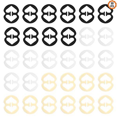 30 Stück BH Träger Halter, Anti-Rutsch Klipp Bra Strap Clips Transparente Schwarz Hautfarbe Klein Unsichtbar BH Träger Clip Set für Damen Frauen