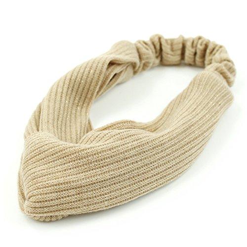 rougecaramel - Accessoires cheveux - Headband/Bandeau serre tête entrecroisé en tissu - beige