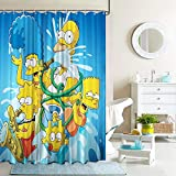 The simps_ons Fabric Shower Curtain Set with Hooks for Boys Girls Bathroom Decor