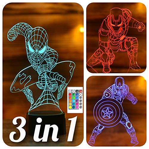 SerkyHome 3in1-3D Illusion Night Light for Kids 7 Colors with Remote-Led Table Lamp-Spiderman-Ironman-Captain America (Avengers 3in1)