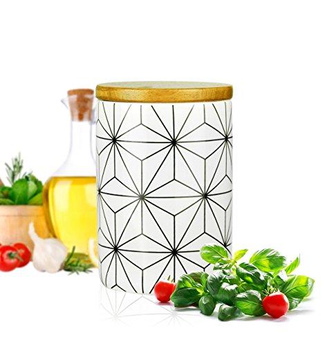 Sendez Vorratsdose mit Holzdeckel und Motiv 800ml Porzellan Vorratsbehälter Porzellandose Dose #1