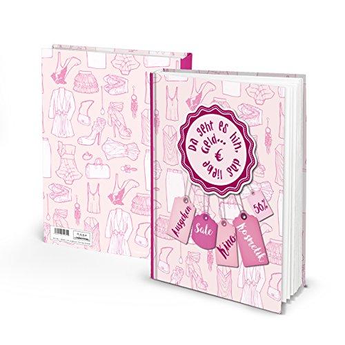 Haushaltsbuch Notizbuch Tagebuch rosa-rot pink Shopping-Queen Buch Mädchen Frauen PERFEKTES GESCHENK DIN A5 - AUSGABEN aufschreiben Geschenkbuch Weihnachten Geburtstag