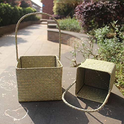RFVNAC Scatola portaoggetti in alghe Naturali quadrate Scatola portaoggetti Tessuta a Mano con cestello portaoggetti Intrecciato