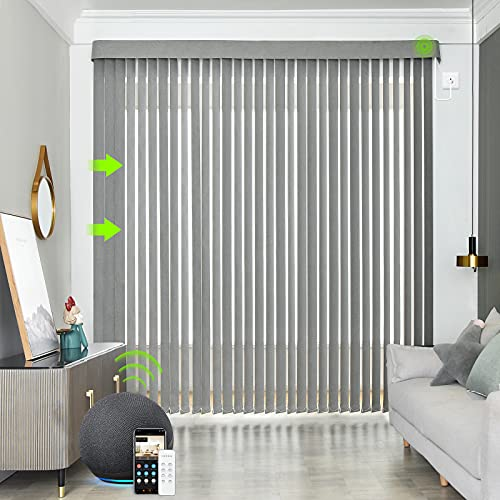Yoolax Motorized Vertical Blinds Works with Alexa, Light Filtering Remote Control Window Blind...