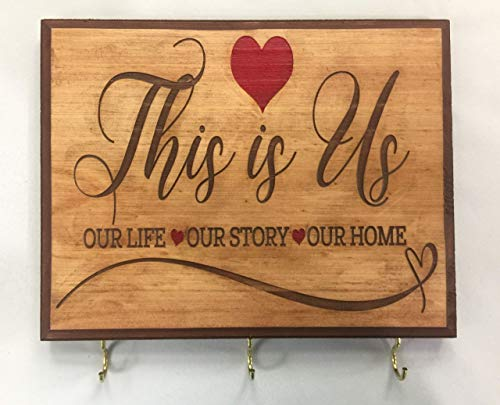 """7x9 Brown""""This is Us' Sign Home Decor Key Holder for Wall. Gift for couple. Wedding gift idea for couple. Bridal shower gift idea. Housewarming gift for couple."""