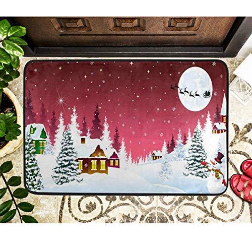 Alfombrillas de Navidad Muñeco de nieve Pueblo rural Copos de nieve Santa en trineo Alfombrilla Alfombrilla de interior Alfombrilla de invierno Invierno Bienvenido Matmas Decoración 60x39 pulgadas