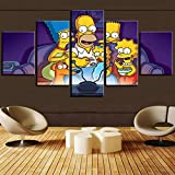 BAOZU Decor Abstract Canvas Wall Art Simpsons Tv at Night Anime Painting Framed 5 Pieces for Living Room Decoration Modern Hd Print Artworks-150 x 80 cm