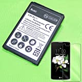 High Capacity 2600mAh Rechargeable Li_ion Battery with Full Coverage Tempered Glass Screen Protector Film for LG Tribute 5 LS675 Sprint/Boost Mobile/Virgin Mobile