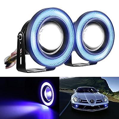 "Mictuning 2pcs High Power 3.5"" Projector Universal LED Fog Light w/ COB Halo Angel Eye Rings"