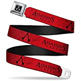 Buckle-Down Seatbelt Belt - Assassin's Crest2 Red/Black - 1.5' Wide - 24-38 Inches in Length