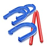 Gamie Horseshoes Tossing Game - Set Includes 4 Horse Shoes and 2 Stakes - Durable Plastic - Outdoor Activities for Family, Kids and Adults - Fun Activity for Party, Camping, Yard, Lawn