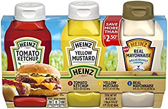 Heinz Tomato Ketchup Mustard & Mayonnaise Picnic Pack (49 oz Bottles)
