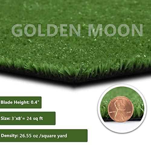 GOLDEN MOON All Green Artificial Grass Rug Rubber Back 10mm Blade Height Fake Grass Rug 3'x 8'(24sq ft)