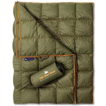 Get Out Gear Couverture de camping en duvet - Légère et pliable - 650 - Compact - Imperméable - Chaude - Pour le camping, la randonnée, le voyage - Hamac