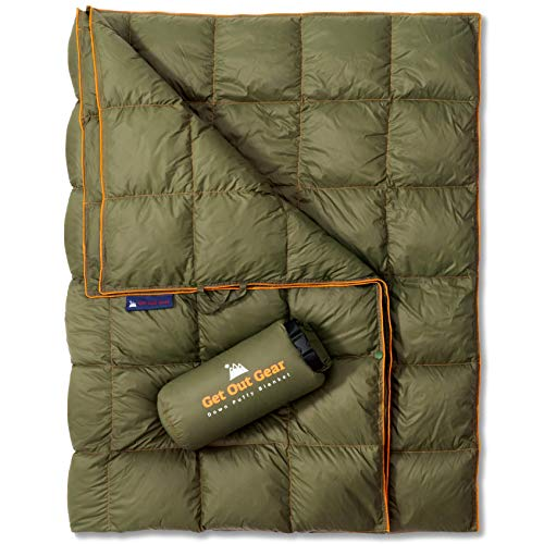Get Out Gear Down Camping Blanket - Outdoor Lightweight Packable 650 Fill Power Down Blanket Compact Waterproof and Warm Backpacking Quilt for Camping Hiking Travel Hammock