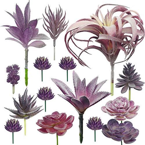 Cayway 15 Pz Suculentas Plantas Artificiales, Morado Suculentas Artificiales Plantas Decorativas Artificiales Surtidas Suculentas para Hogar, Jardín, Interior