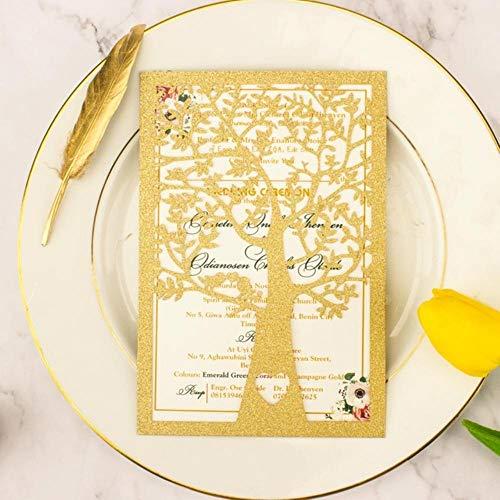 Piero Tree Gate fold huwelijksuitnodigingen kaarten voor partij uitnodigen Bruids douche, champagne glitter, als foto