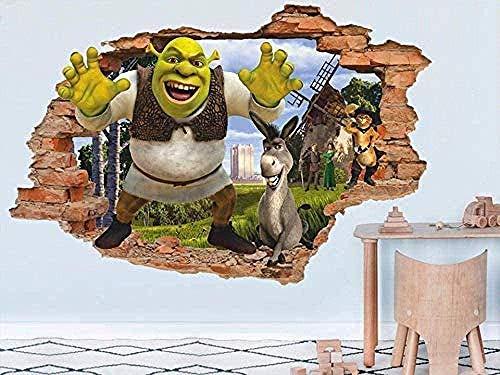 TJJC Adhesivos de pared Shrek 3D Adhesivo de pared Adhesivos de pared Vinilo removible Vivero Arte de la pared Decoración para niños Dibujos animados