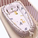 Baby Lounger Nest Bassinet for Bed, Portable Baby Co-Sleeping Cribs & Cradles for Bedroom and Travel, 100% Soft Cotton Baby Bed (Lace Elephant Grey)