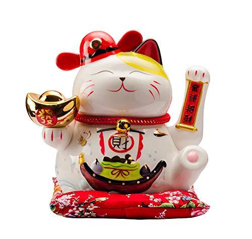 Maneki Neko Porcelana Gato de la Suerte Afortunado Gato agitando el Brazo Waving Arm Lucky bendición,Blanco L31*W24*H27cm, 4