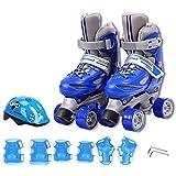 AYLS Patines De Rodillos Infantiles Doble Fila Ajustable Zapato Tamaño Ruedas De PU Resistentes Al Desgaste para Niños En Uso En Interiores Y Exteriores,Blueprotectivegear,27~30