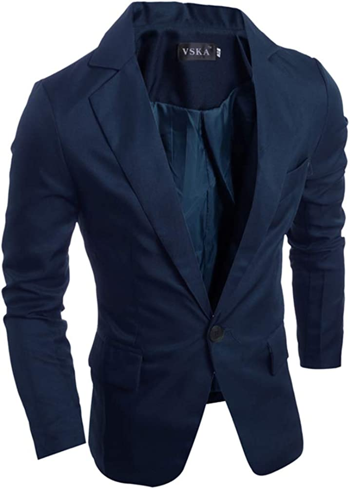MeterMall Men Slim Single button Lapel Suit V-neck Simple Solid Color Casual Wedding Groom Coat