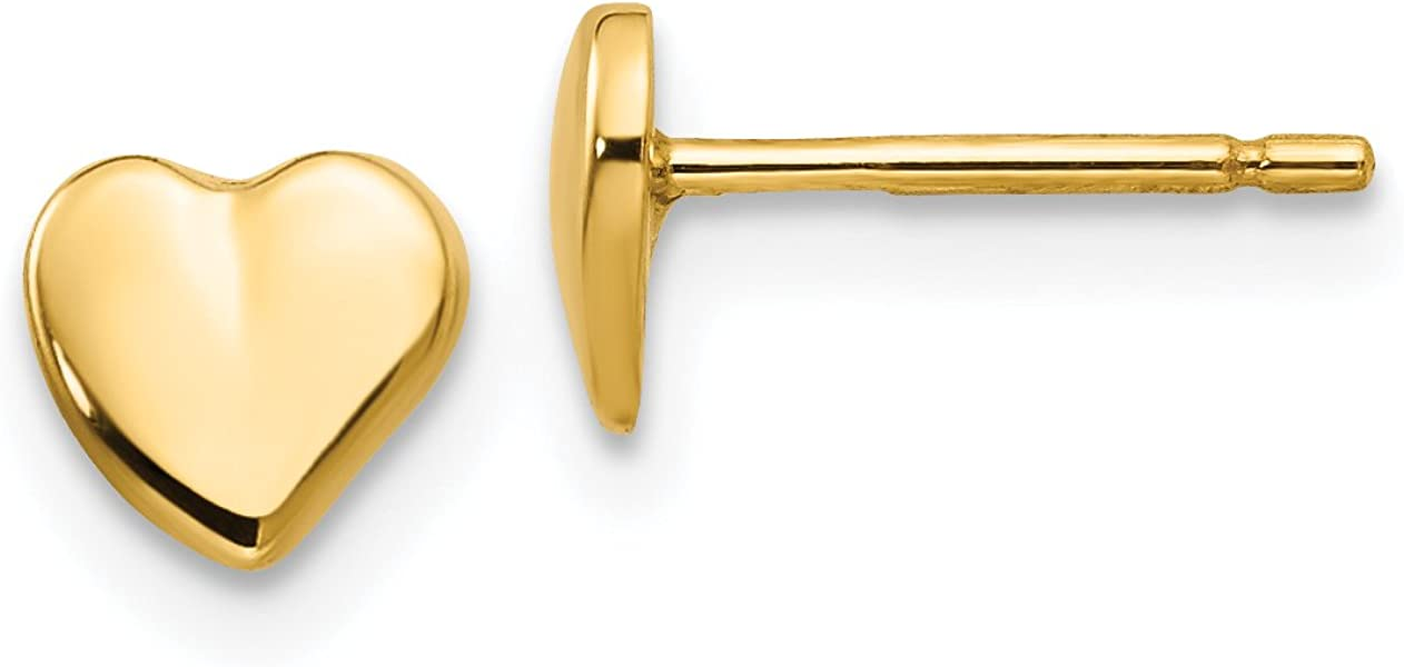 Ranking TOP20 Polished Heart Button Post Earrings Yellow Gold in 40% OFF Cheap Sale 14k Real
