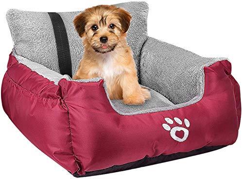 FRISTONE Hunde Autositz Kleine Hunde Sicherheit Hundsitz, Dackel Bulldogge Reisebett Erhöht Autositze, mit Clip-on-Sicherheitsleine und Lagerung Tasche, Rot
