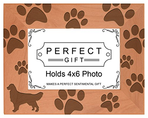 Gifts For All By Rachel Olevia Dog Lover Gift Golden Retriever Paw Prints Natural Wood Engraved 4x6 Landscape Picture Frame Wood