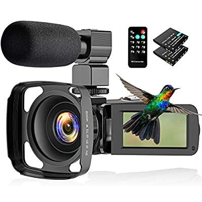 Actitop Video Camera Camcorder 2.7K, Ultra HD IR Night Vision Vlogging Camera for YouTube with Microphone Lens Hood from Esteopt