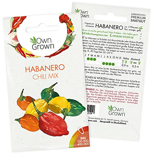 Chilisamen Habanero Mix: Premium Habanero Samen Mischung zum Anbau von Chili Pflanzen für Balkon und Garten – Habanero Chili Samen für bunte Chilipflanzen – 5 Chilli Samen scharf von OwnGrown