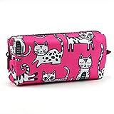 Astuccio per matite con gatto rosa, per amanti dei gatti, idea regalo per gli amanti dei gatti