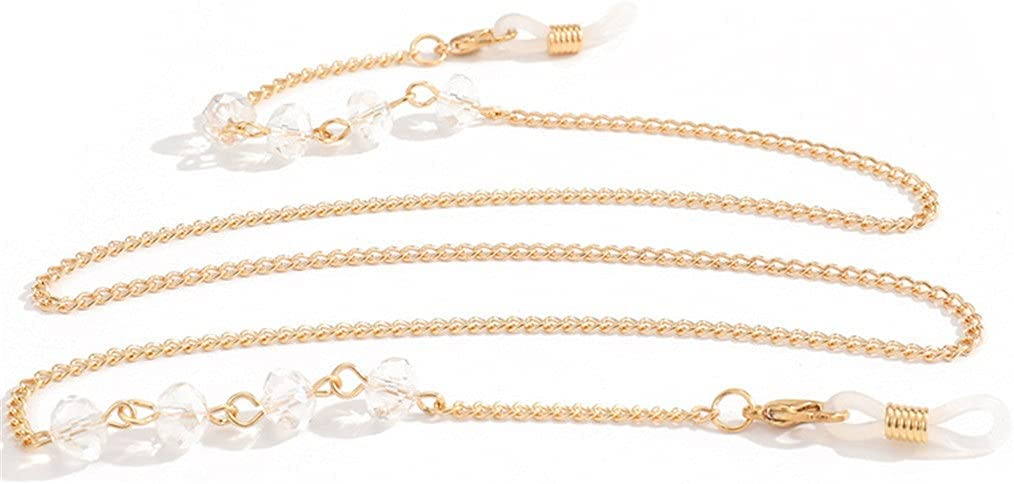 WJCCY Transparent Crystal Reading Sunglasses Chains Bead Women Lanyard Accessories Sunglasses Hold Straps Cords (Color : A, Size : Length-70CM)