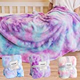 STAOLENE Faux Fur Throw Blankets, Comfy Rainbow Soft Fuzzy Fall Throw Blanket Decorative Throw Blankets for Sofa Floor Couch Bed Living Room (Pink Purple, 51' x 63')