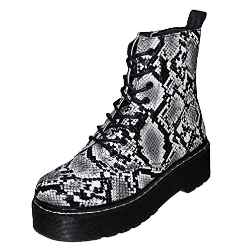 Hailys Damen Schnürstiefeletten mit Plateausohle Combat Boots (40 EU, Grau)