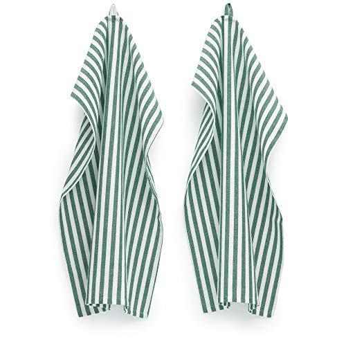 FILU Geschirrhandtücher 8er Pack Dunkelgrün/Weiß gestreift (Farbe & Design wählbar) 45 x 70 cm - hochwertige Küchenhandtücher/Geschirrtücher aus 100prozent Baumwolle