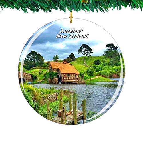 Weekino New Zealand Hobbit Village Auckland Christmas Ornament City Travel Souvenir Collection Double Sided Porcelain 2.85 Inch Hanging Tree Decoration
